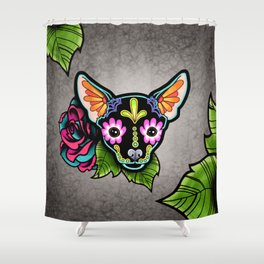 Chihuahua in Black - Day of the Dead Sugar Skull Dog Shower Curtain
