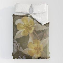 White and yellow columbines Comforters