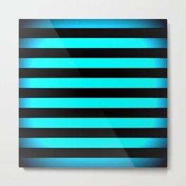 Stripes Aqua Blue & Black Metal Print