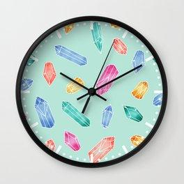 Crystals pattern - Light Green Wall Clock