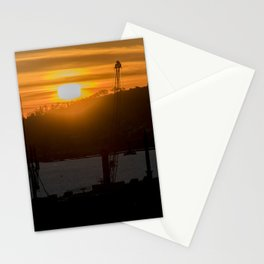 Aerial View Sunset Scene of Montevideo Uruguay Stationery Cards