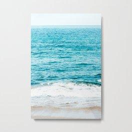 Teal Ocean Wave Photography Metal Print