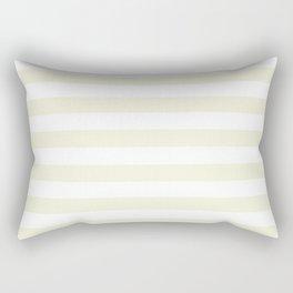 Narrow Horizontal Stripes - White and Beige Rectangular Pillow