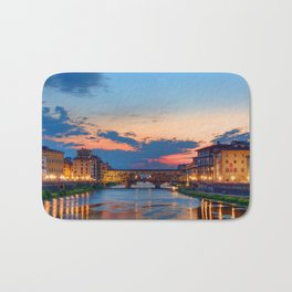 Beautiful city in Italy at sunset time Bath Mat
