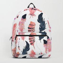 Pink Black Flamingo Boho Chic Feathers Backpack