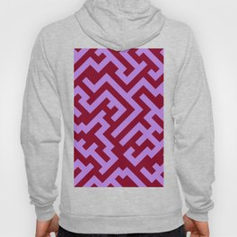 Lavender Violet and Burgundy Red Diagonal Labyrinth Hoody
