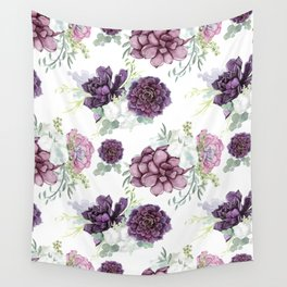 Succulents Deep Violet Lavender Pastel Green Lilac PatternSee Nature Magick for more pretty pastel c Wall Tapestry