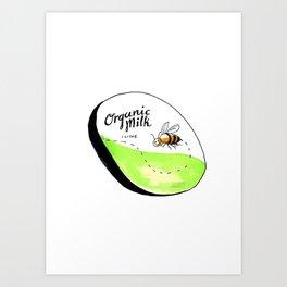 Bee Organic Milk Label Drawing Art Print