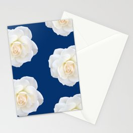 Cream Rose Polka Dot on Blue Stationery Cards
