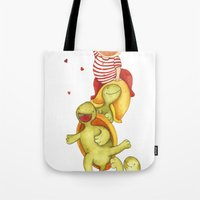 turtles Tote Bags featuring turtles by La Bella Leonera