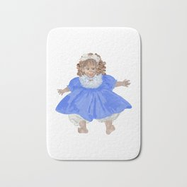 Doll in blue dress Bath Mat