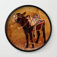 donkey Wall Clocks featuring Donkey by Noelle Abbott