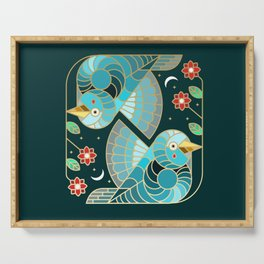 Beautiful Art Deco Midnight Bluebirds And Blossoms Serving Tray