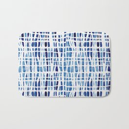 Shibori Braid Vivid Indigo Blue and White Bath Mat