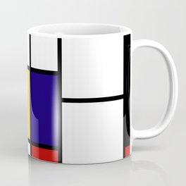 Primary Colors Geometric Pattern Fabric - Mondrian Fabric - Bauhaus Style Lines Home Decor Cotton Coffee Mug