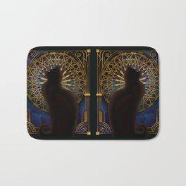 Celestial Sable - Black Cat And Night Magic Mandala Bath Mat