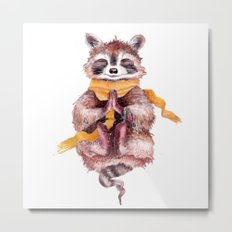 Raccoon meditates Metal Print