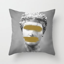 Gold Brush Strokes Marble Statue Throw Pillow