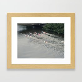 Kayakers On The River Framed Art Print