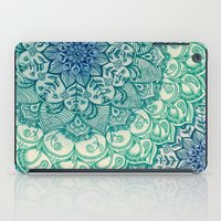mandala iPad Cases featuring Emerald Doodle by micklyn