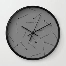 Bobby Pins on Black Wall Clock