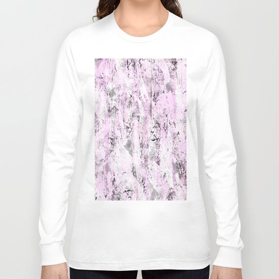 Pink and Grey Abstract Long Sleeve T-shirt