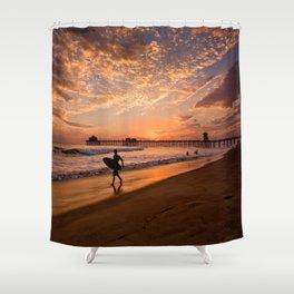 Surf City Sunsets   9/10/15   Huntington Beach California  Shower Curtain