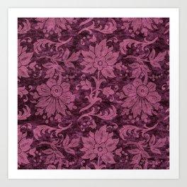 Burgundy Turquoise Velvet Floral Pattern 03 Art Print