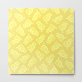 Yellow Easter chicken pattern Metal Print