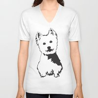 westie V-neck T-shirts featuring Westie Westhighland Terrier artwork by MONOFACES
