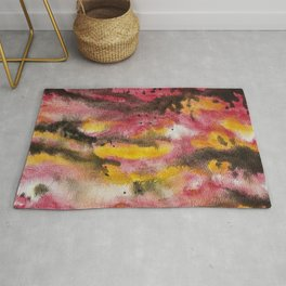 Red Skies At Night abstract landscape painting Rug