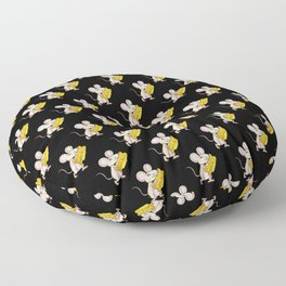 Mouse Cheese Black Pattern Floor Pillow