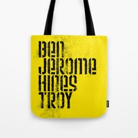 steelers Tote Bags featuring Ben Jerome Hines Troy / Gold by Brian Walker