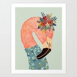 Flamingo with flower crown Art Print