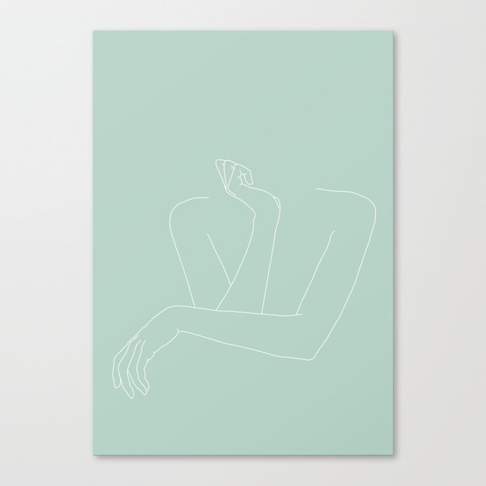 Arms and hands minimal line drawing illustration - Anna Green Canvas Print