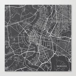 Bangkok Map, Thailand - Gray Canvas Print