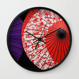 Japanese Umbrellas Wall Clock