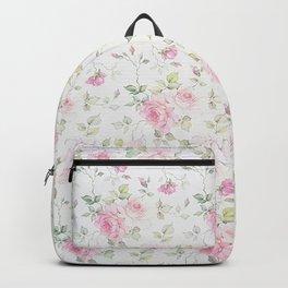 Elegant blush pink white vintage rose floral Backpack