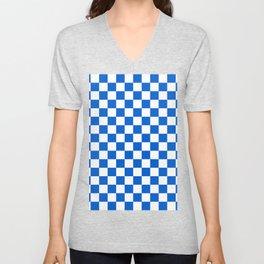 Gingham Brilliant Blue Checked Pattern Unisex V-Neck