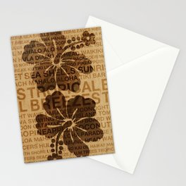 Summer Words Hawaiian Hibiscus Graphic Design Stationery Cards