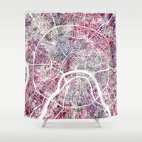 moscow Shower Curtains featuring Moscow by MapMapMaps.Watercolors
