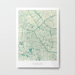 Tianjin Map Blue Vintage Metal Print
