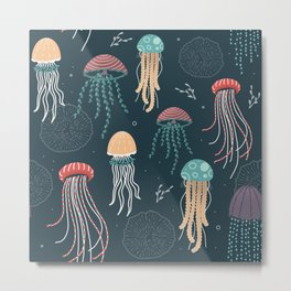 The sea of jellyfish Metal Print