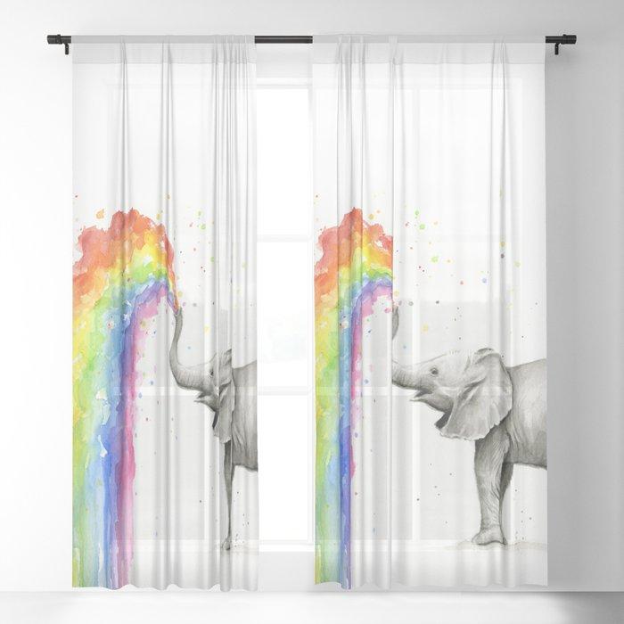 Baby Elephant Spraying Rainbow Sheer Curtain