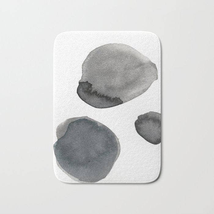 Standing Stones Blue Grey Abstract Art Bath Mat