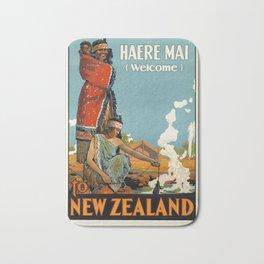 New Zealand 01 - Vintage Poster Bath Mat
