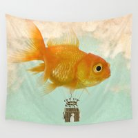 ballon Wall Tapestries featuring balloon fish 03 by Vin Zzep