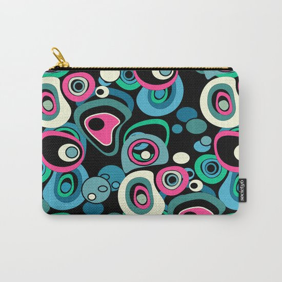 Abstract black and pink , turquoise polka dot pattern . Carry-All Pouch