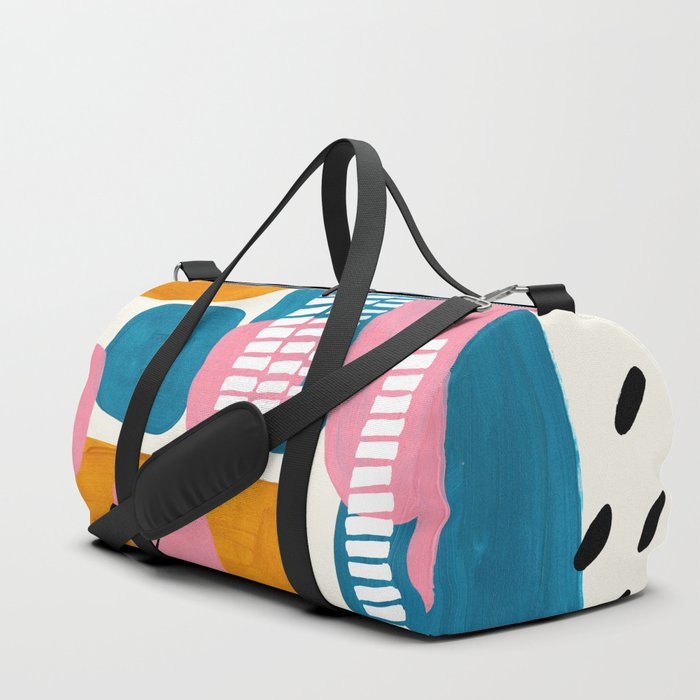 Mid Century Modern abstract Minimalist Fun Colorful Shapes Patterns Pink Teal Yellow Ochre Bubbles Duffle Bag