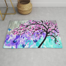 cherry blossom with Ulysses butterflies Rug